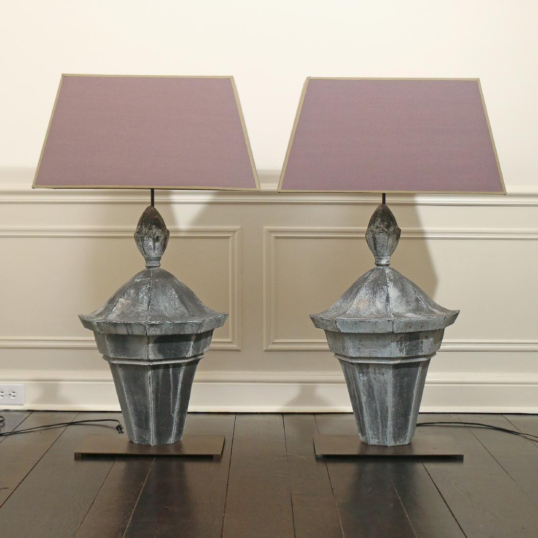 PAIR SPLIT TIN LANTERN TABLE LAMPS