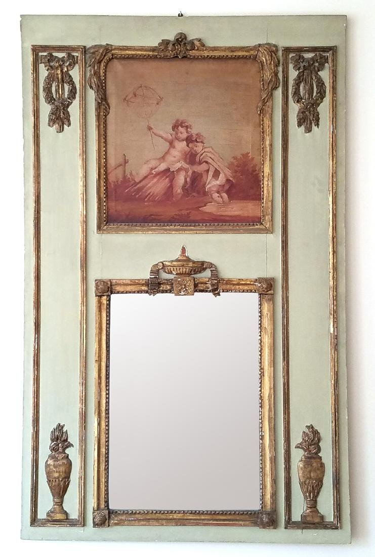 GILT CARVED TRUMEAU MIRROR