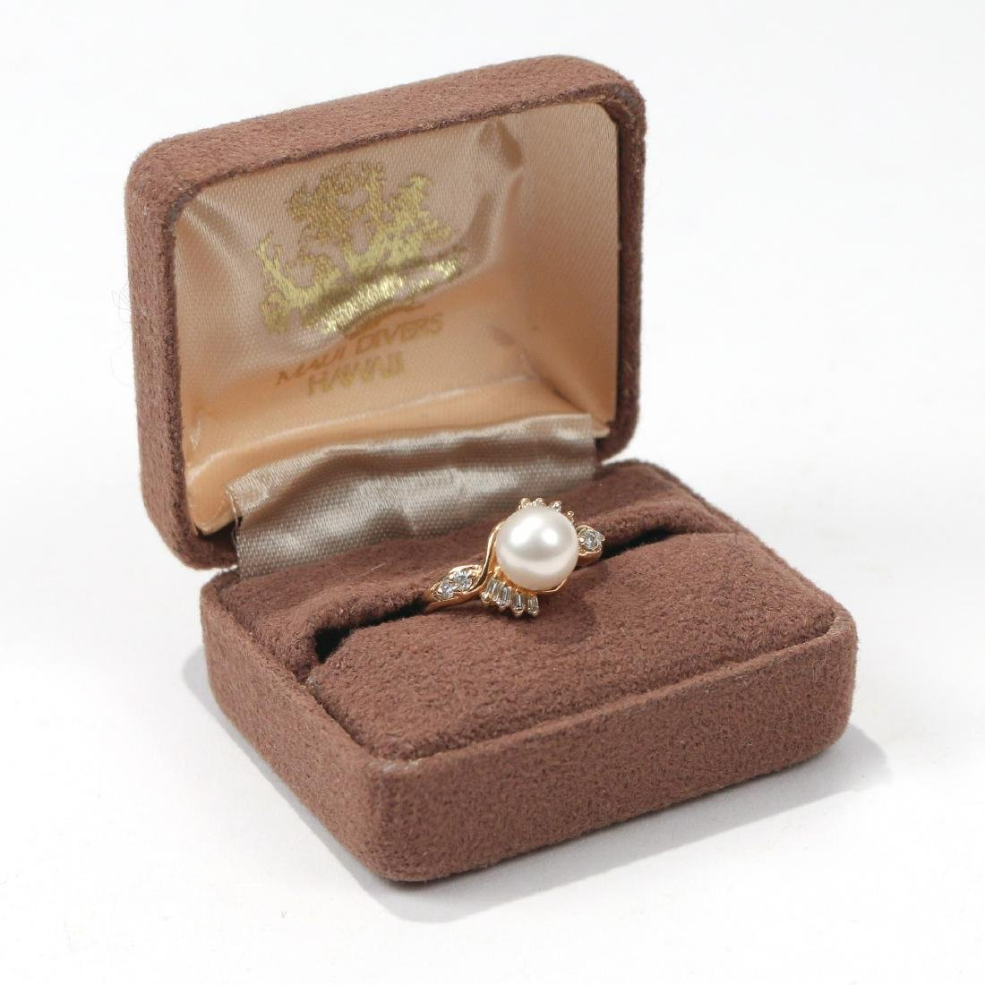 MAUI DIVER'S PEARL & DIAMOND RING - 2