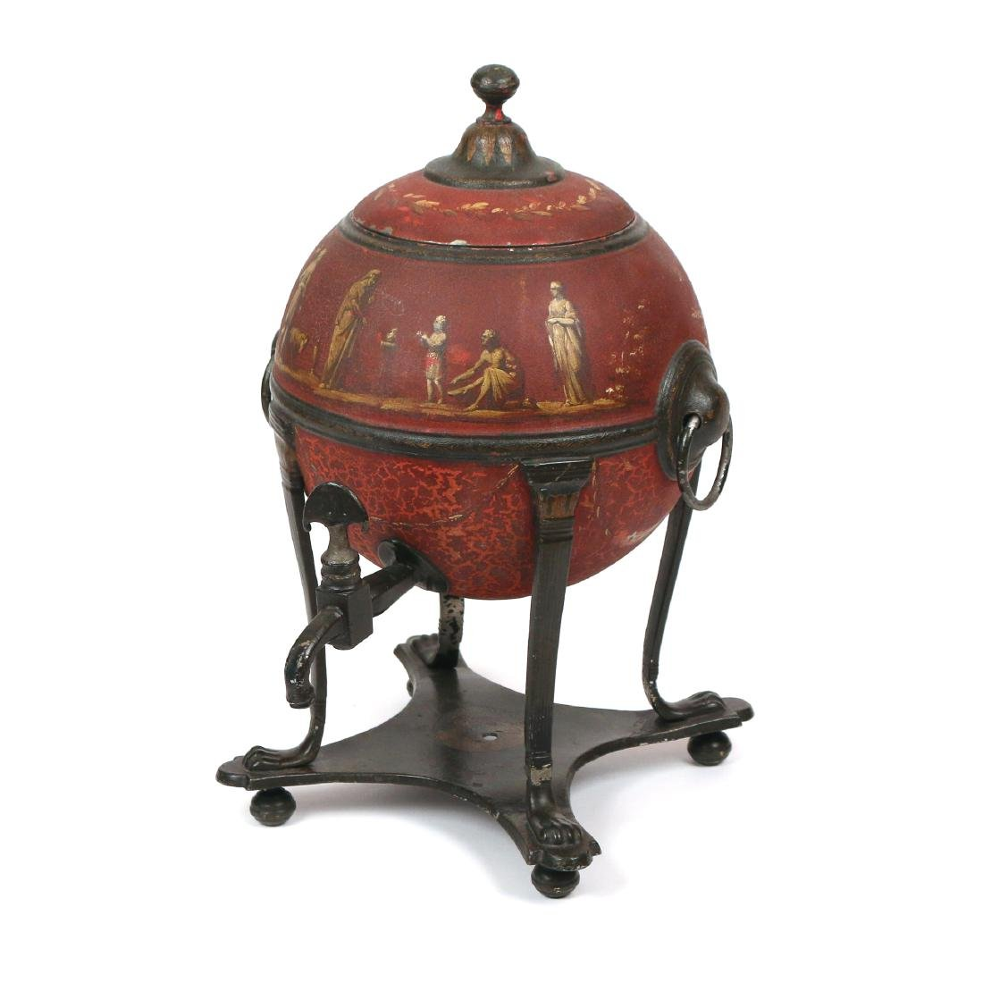 ENGLISH RED TOLE PAINTED HOT WATER URN