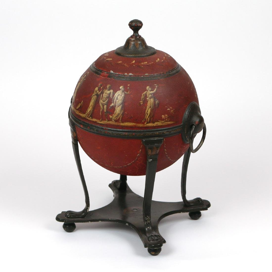 ENGLISH RED TOLE PAINTED HOT WATER URN - 2