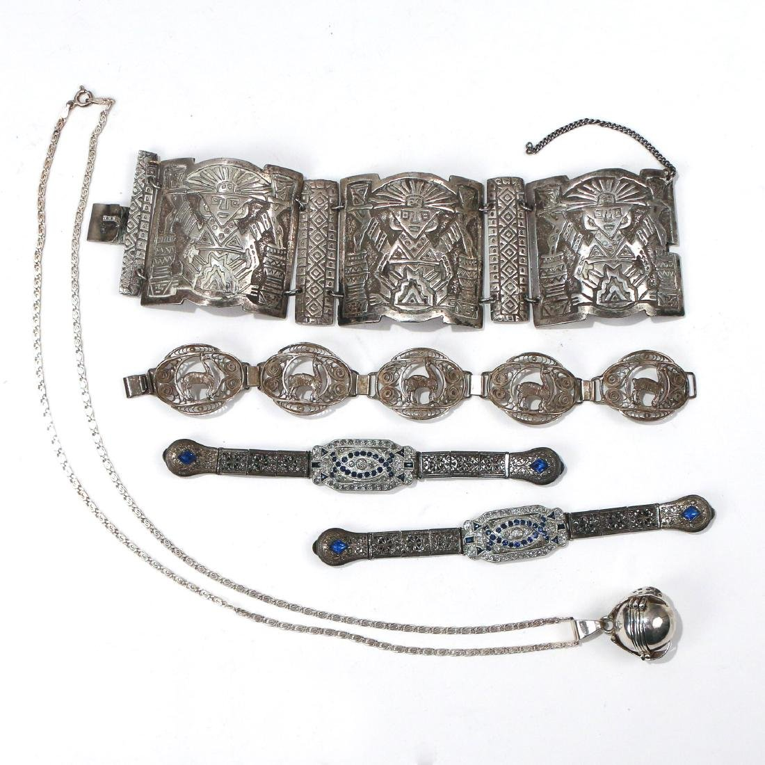 (5pc) MISC. SILVER & OTHER JEWELRY