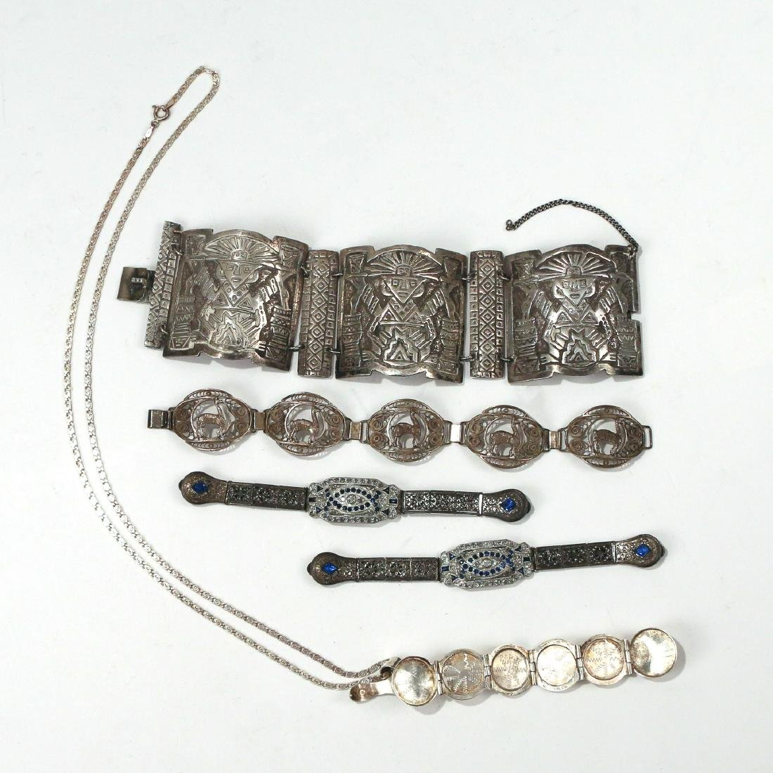 (5pc) MISC. SILVER & OTHER JEWELRY - 4