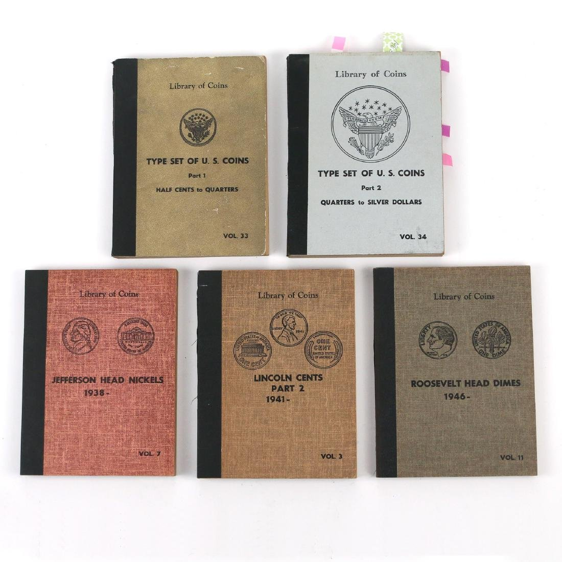 """(5pc) COINAGE """"LIBRARY OF COINS"""" PARTIALLY FILLED"""
