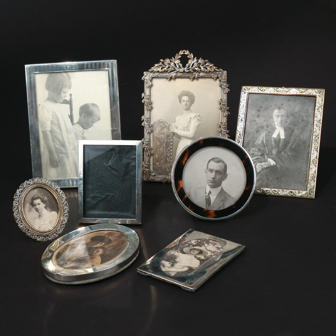 (8pc) SILVER & BRASS PICTURE FRAMES