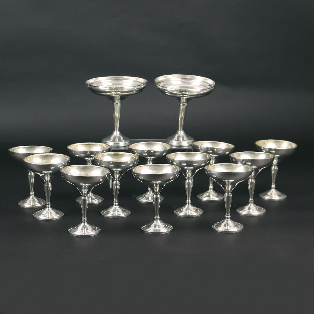 (14pc) WEIGHTED SILVER GOBLETS & OTHER