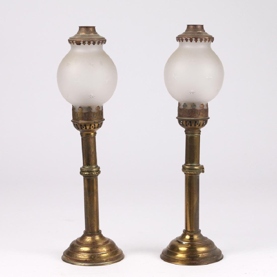PAIR BRASS CARRIAGE LAMPS
