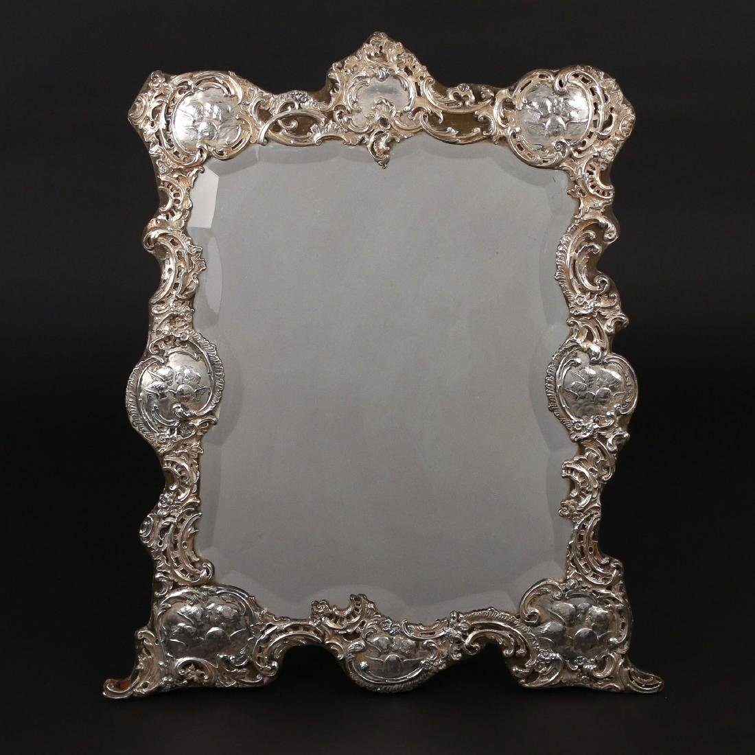 LARGE SILVER-OVERLAID EASEL-BACK MIRROR