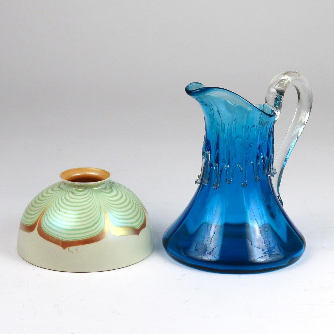 (2pc) STEUBEN SHADE & HAND-BLOWN GLASS PITCHER