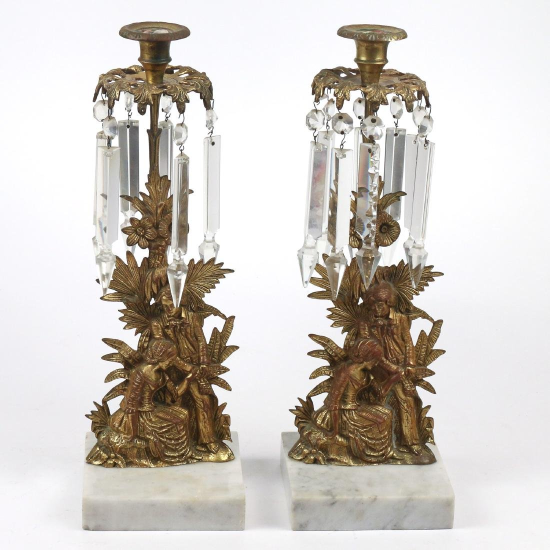 PAIR FRENCH BRASS & MARBLE CANDLESTICKS