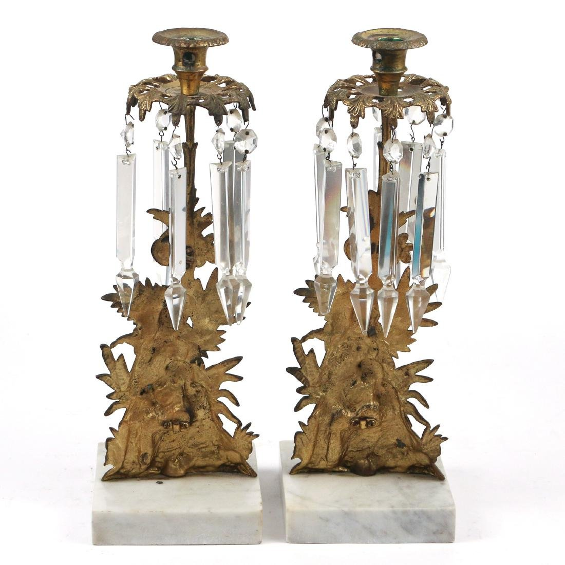 PAIR FRENCH BRASS & MARBLE CANDLESTICKS - 2