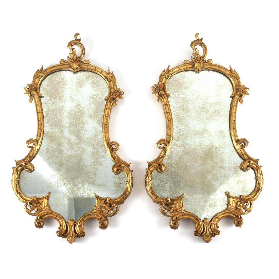 PAIR CHINESE CHIPPENDALE STYLE GILT MIRRORS