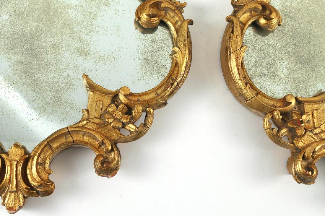 PAIR CHINESE CHIPPENDALE STYLE GILT MIRRORS - 2