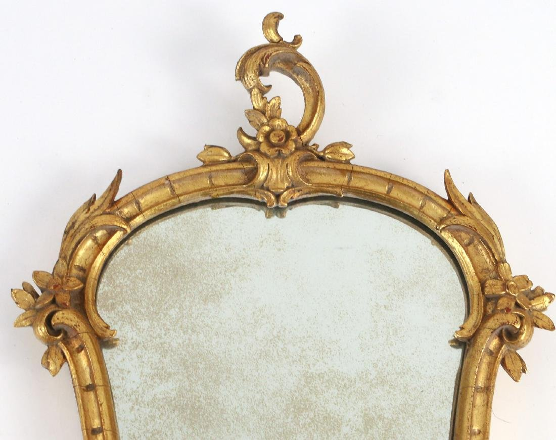 PAIR CHINESE CHIPPENDALE STYLE GILT MIRRORS - 3