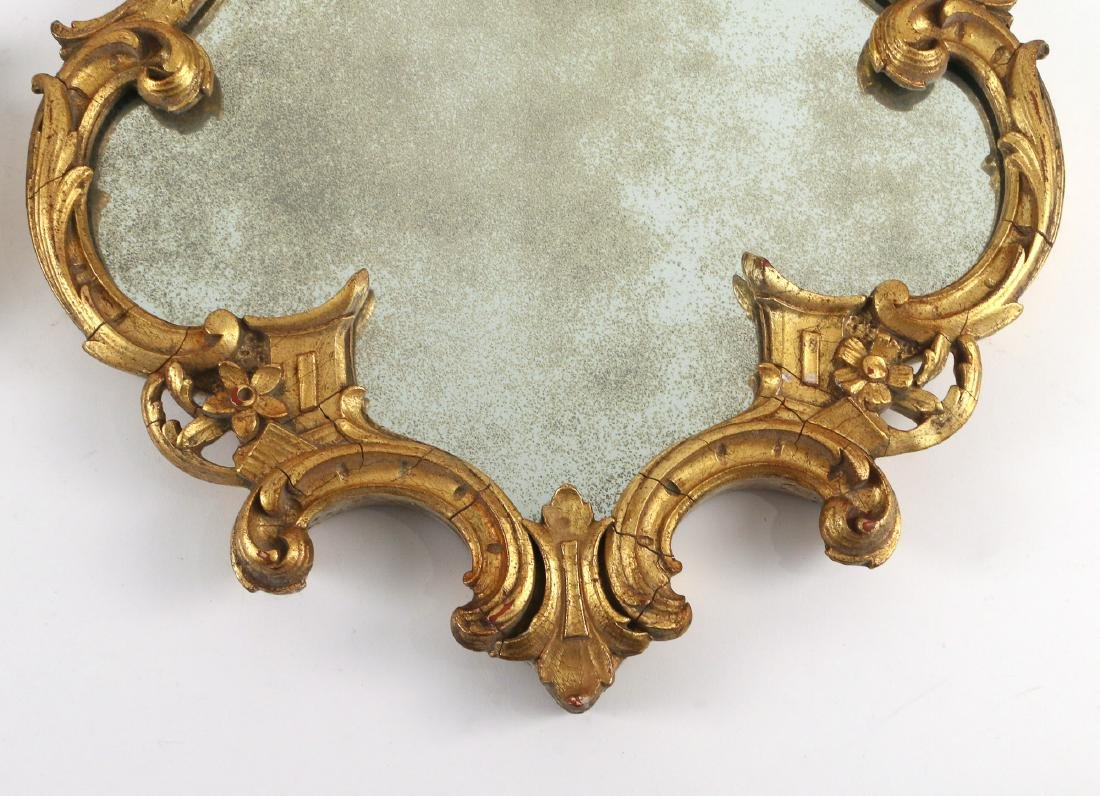 PAIR CHINESE CHIPPENDALE STYLE GILT MIRRORS - 4