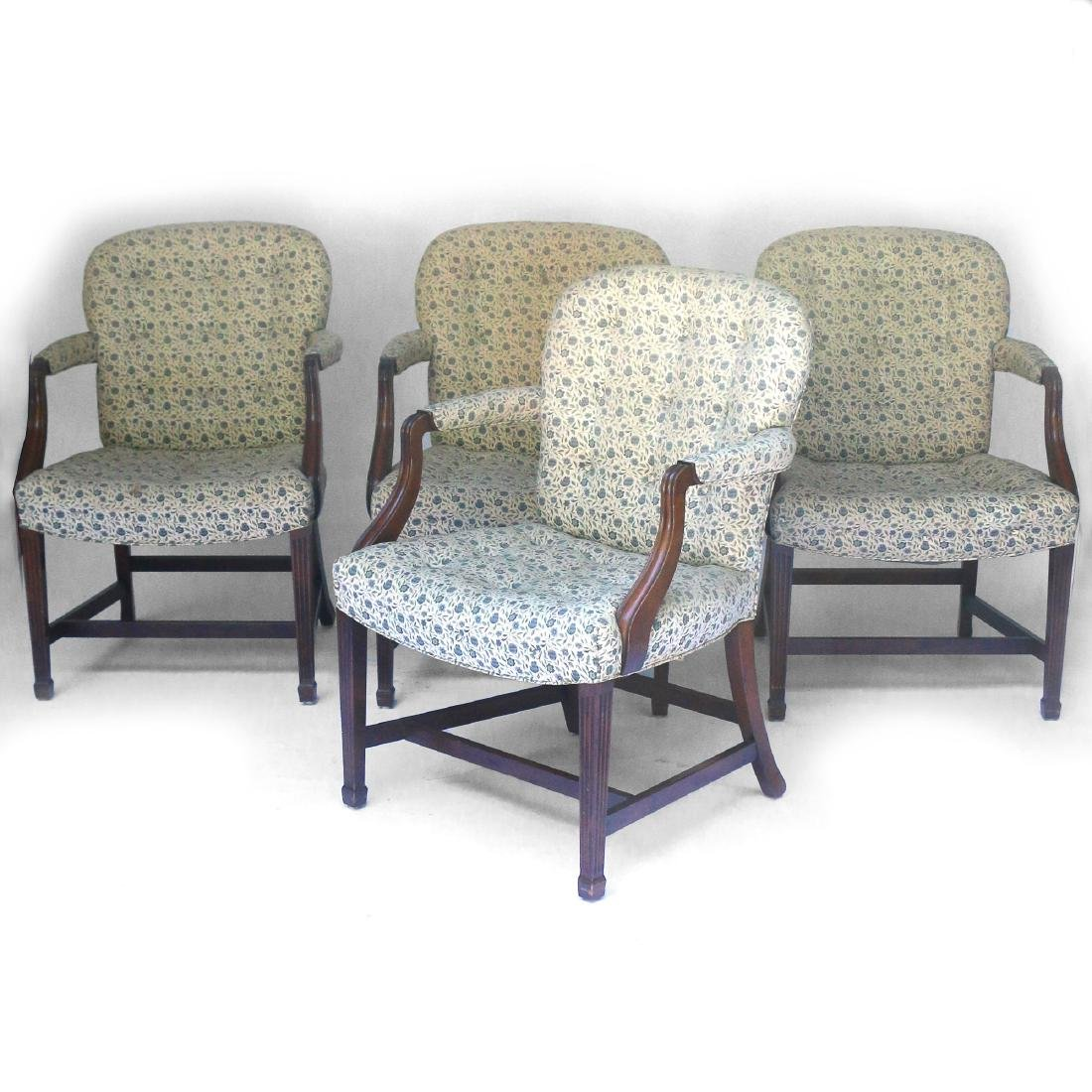 (4pc) KITTINGER CHIPPENDALE-STYLE OPEN ARMCHAIRS