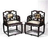 PAIR CHINESE HARDWOOD & MARBLE ARMCHAIRS