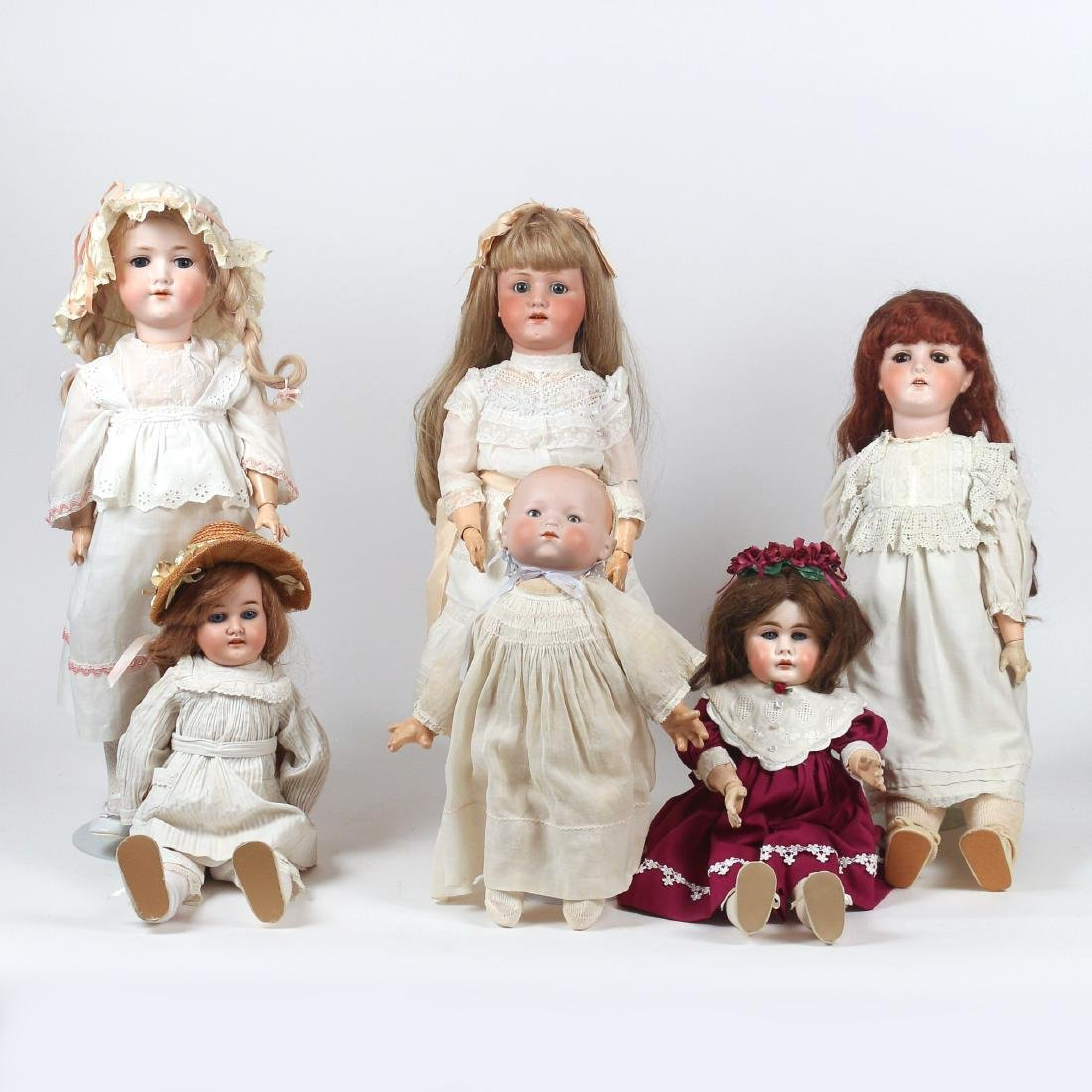 (6pc) BISQUE HEAD & OTHER DOLLS