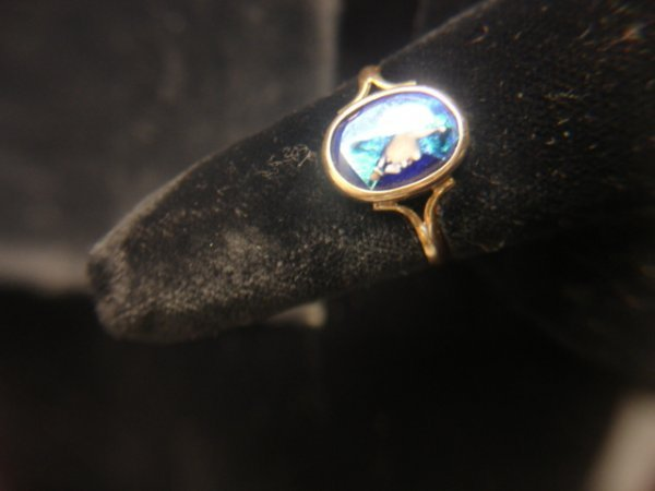 4: 18KYG FRENCH LADY'S RING W/LIMOGES ENAMEL OF HEAD