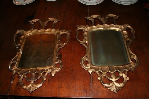 6: ASSEMBLED PAIR; GEORGE 111 GILTWOOD MIRROR AND A