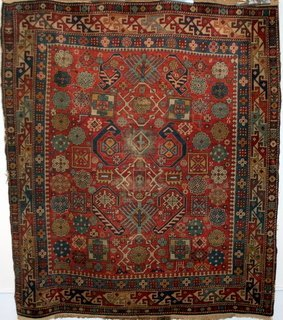 """8: ANTIQUE SHIRVAN RUG, OVERALL PATTERN, 4'-3""""X 5',"""