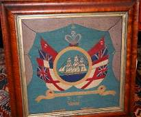 326 19TH C ENGLISH SAILORS WOOLWORK PICTURE SHIP S
