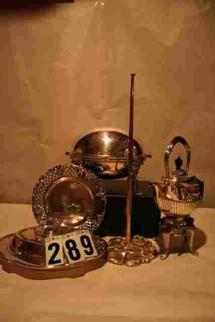 717: SILVER PLATE LOT, REVOLVING TUREEN, COVERED ENTRE