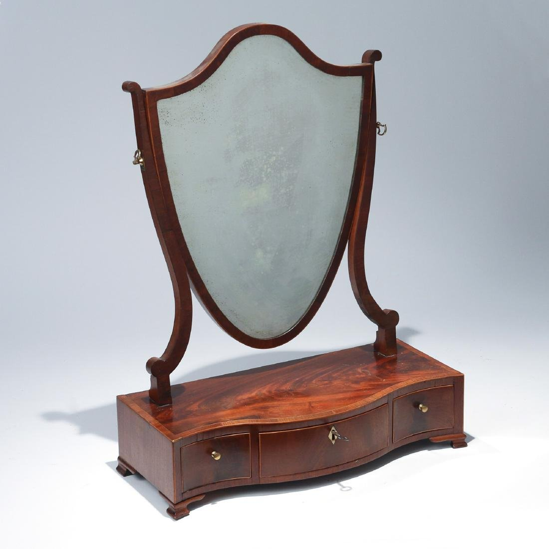 GEORGE III INLAID MAHOGANY DRESSING MIRROR
