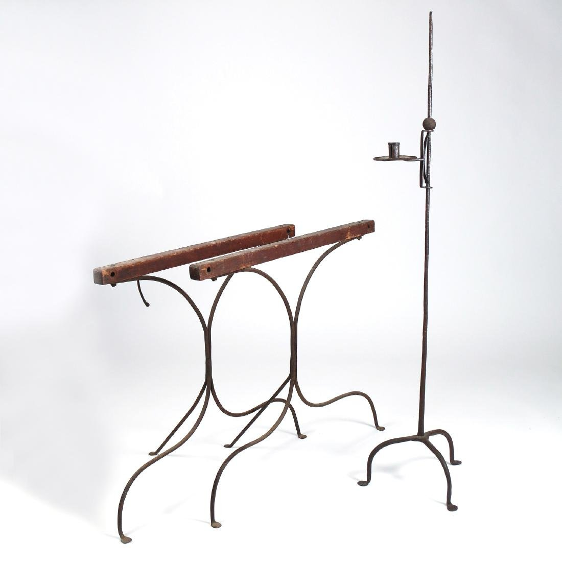 (3pc) ANTIQUE IRON CANDLESTAND & SAW HORSES