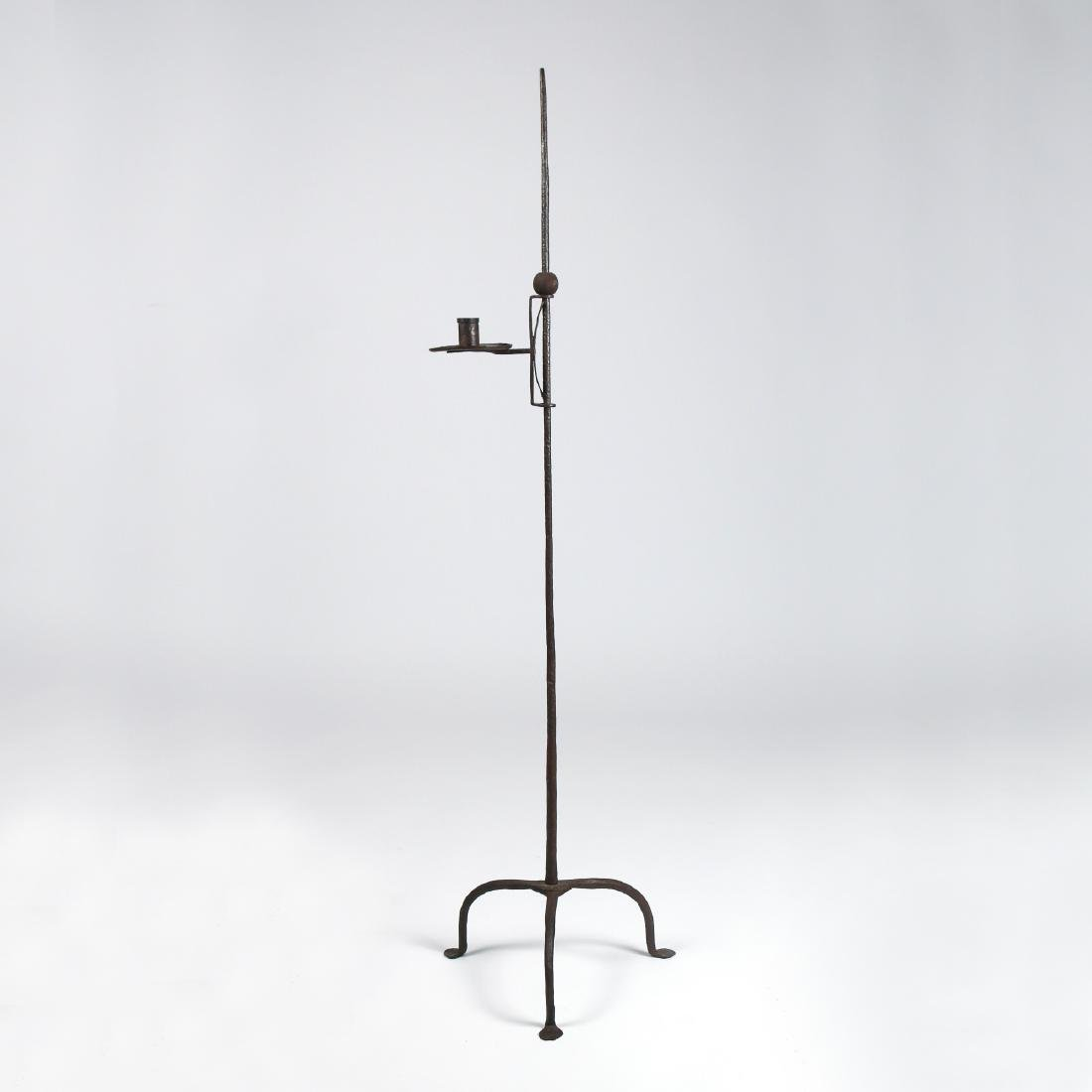 (3pc) ANTIQUE IRON CANDLESTAND & SAW HORSES - 3