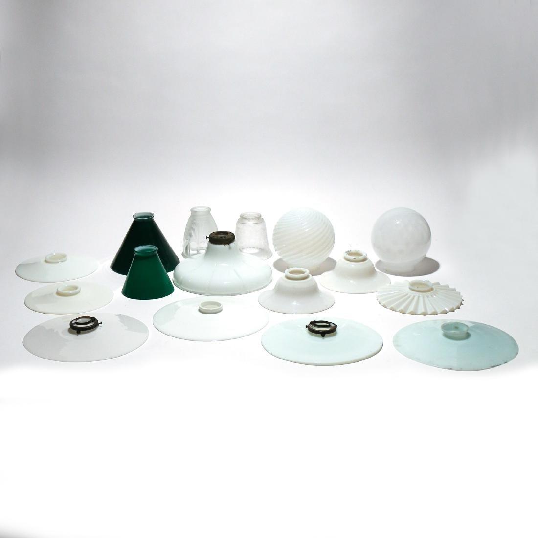 (16pc) ANTIQUE GLASS SHADES & SUN-CATCHERS