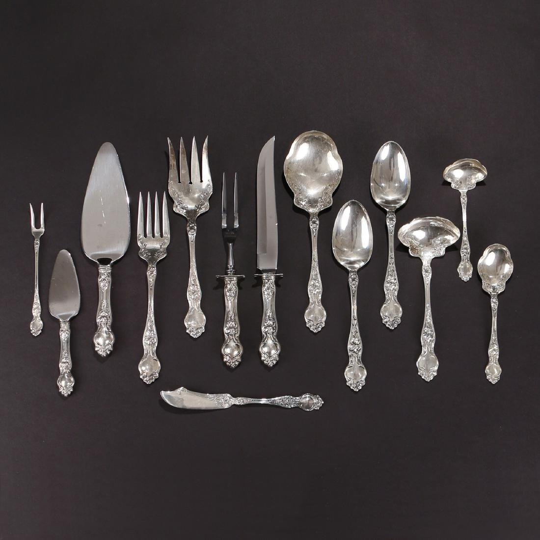 (170pc) WALLACE STERLING SILVER FLATWARE SERVICE - 5