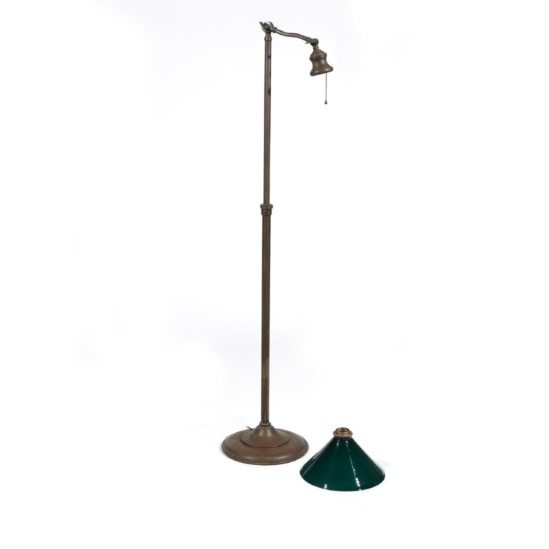 BRASS FLOOR LAMP & GREEN GLASS SHADE