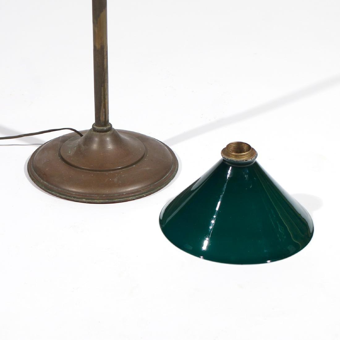 BRASS FLOOR LAMP & GREEN GLASS SHADE - 3
