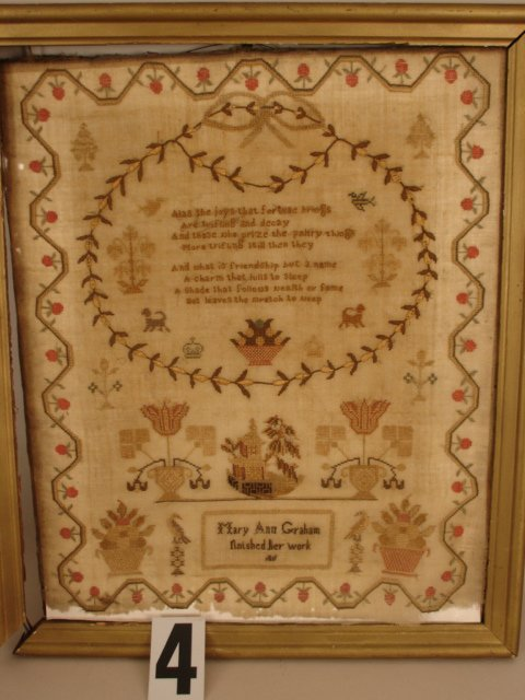"4) SAMPLER SGD. MARY ANN GRAHAM,  d. 1811,  15"" X 12"