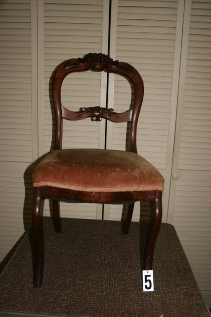 5) 4 ROSEWOOD, VICTORIAN, CARVED SIDE CHAIRS, PR.