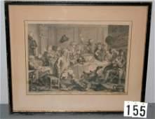 "155) 18THC HOGARTH PRINT, ""A MIDNIGHT MODERN"