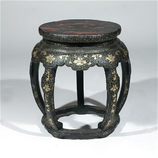 chinese export lacquered drum stool chinese export lacquered drum stool