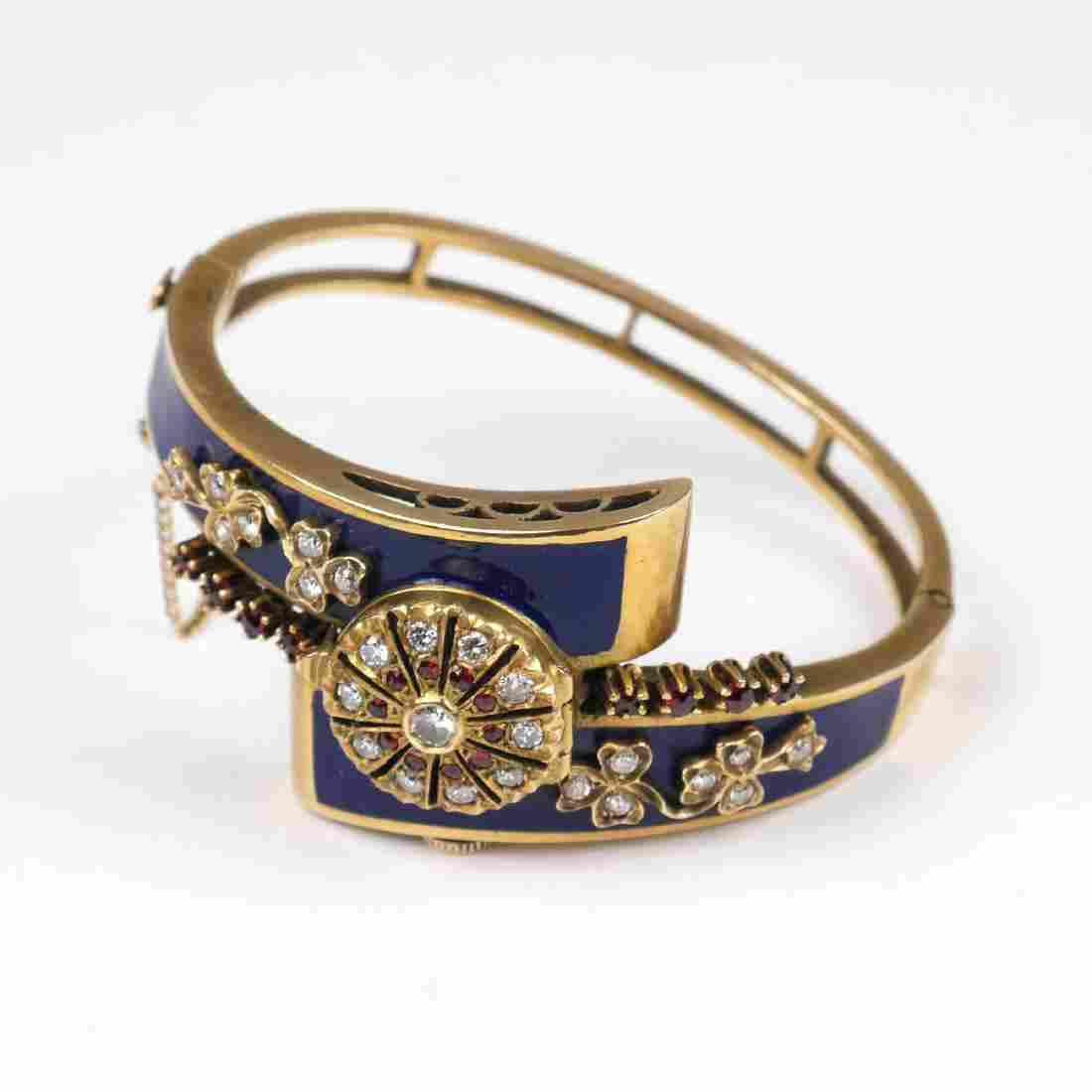 PERY DIAMOND & BLUE ENAMEL BRACELET WATCH
