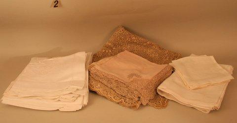 2) LINENS: VENETIAN LACE TABLE CLOTH W/EXCESSIVE