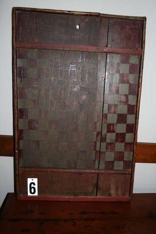 """6)19TH C. AMER. GAMEBOARD W/OLD SURFACE, 28 1/2"""""""
