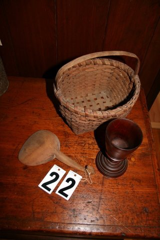 22) TREENWARE (WOODENWARE) - WALNUT GOBLET, BASKE
