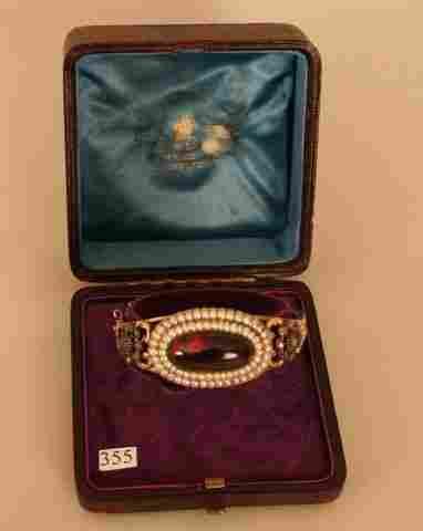 355) 14K GOLD VICTORIAN BRACELET Garnet PEARLS Diamonds