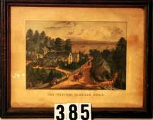 385  CURRIER  IVES Lithograph WESTERN FARM HOME