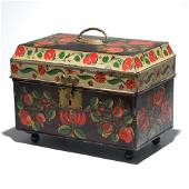 ORNATE ANN BUTLER FOOTED TINWARE BOX