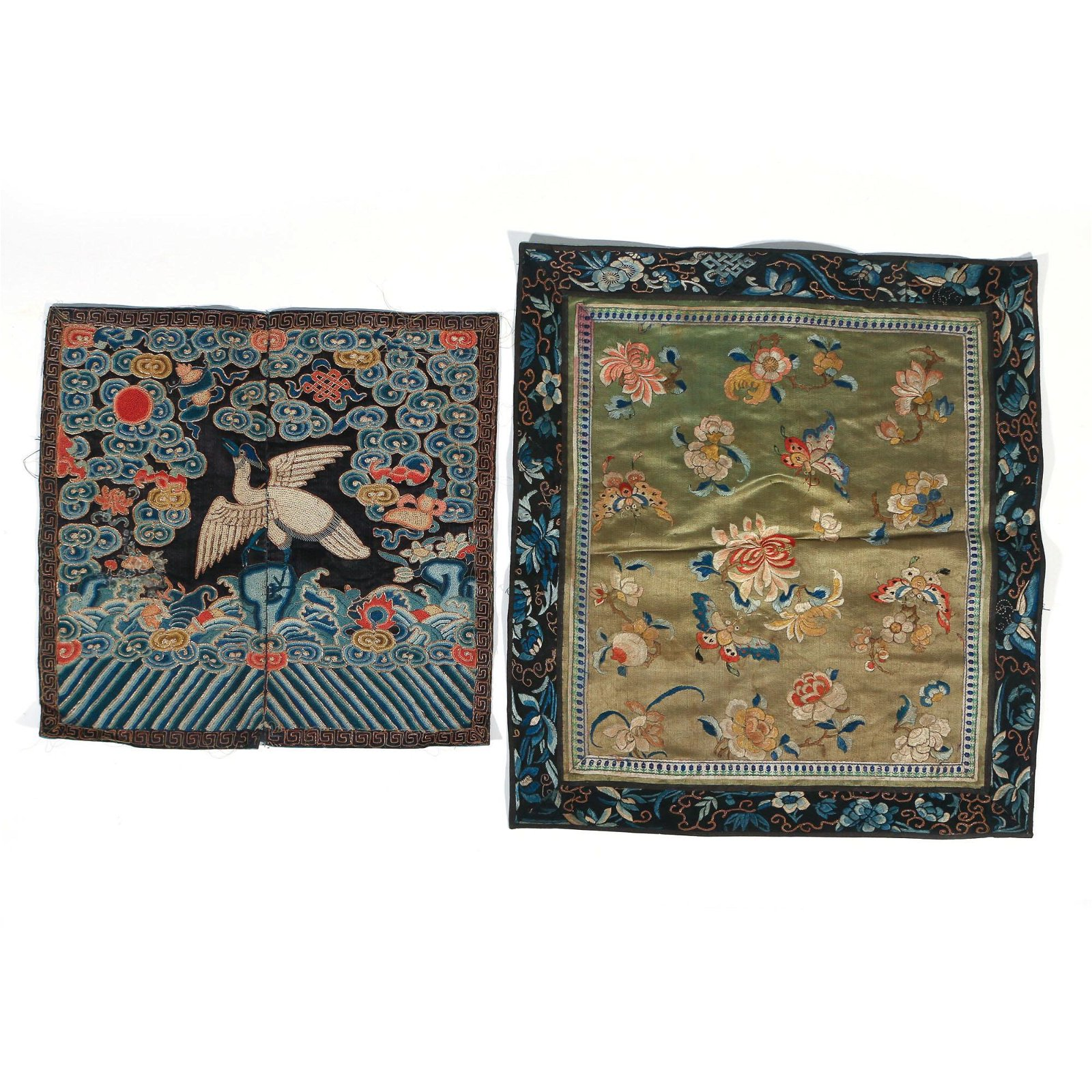(2pc) CHINESE SILK EMBROIDERIES