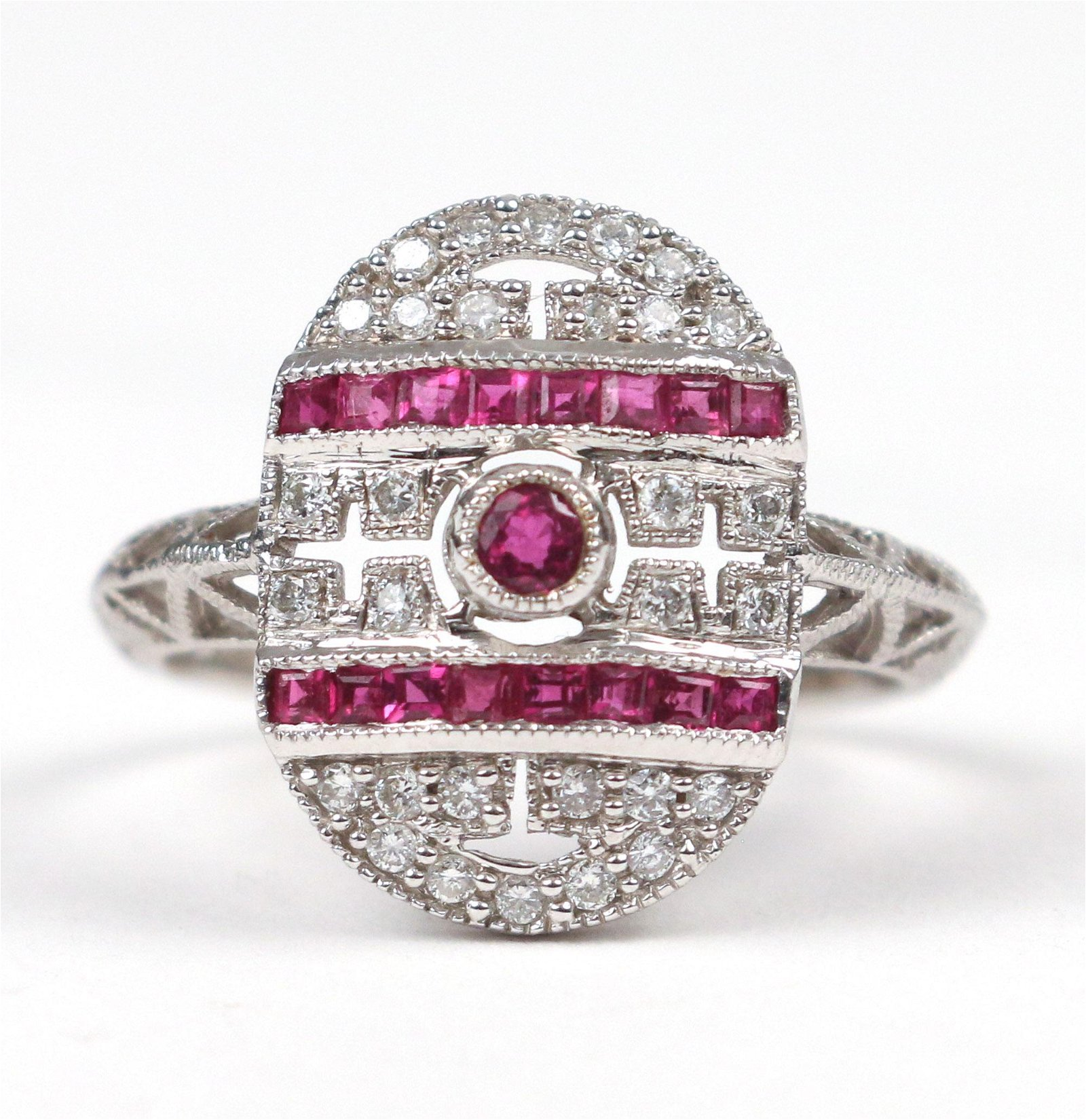 18k WHITE GOLD, DIAMOND & RUBY COCKTAIL RING