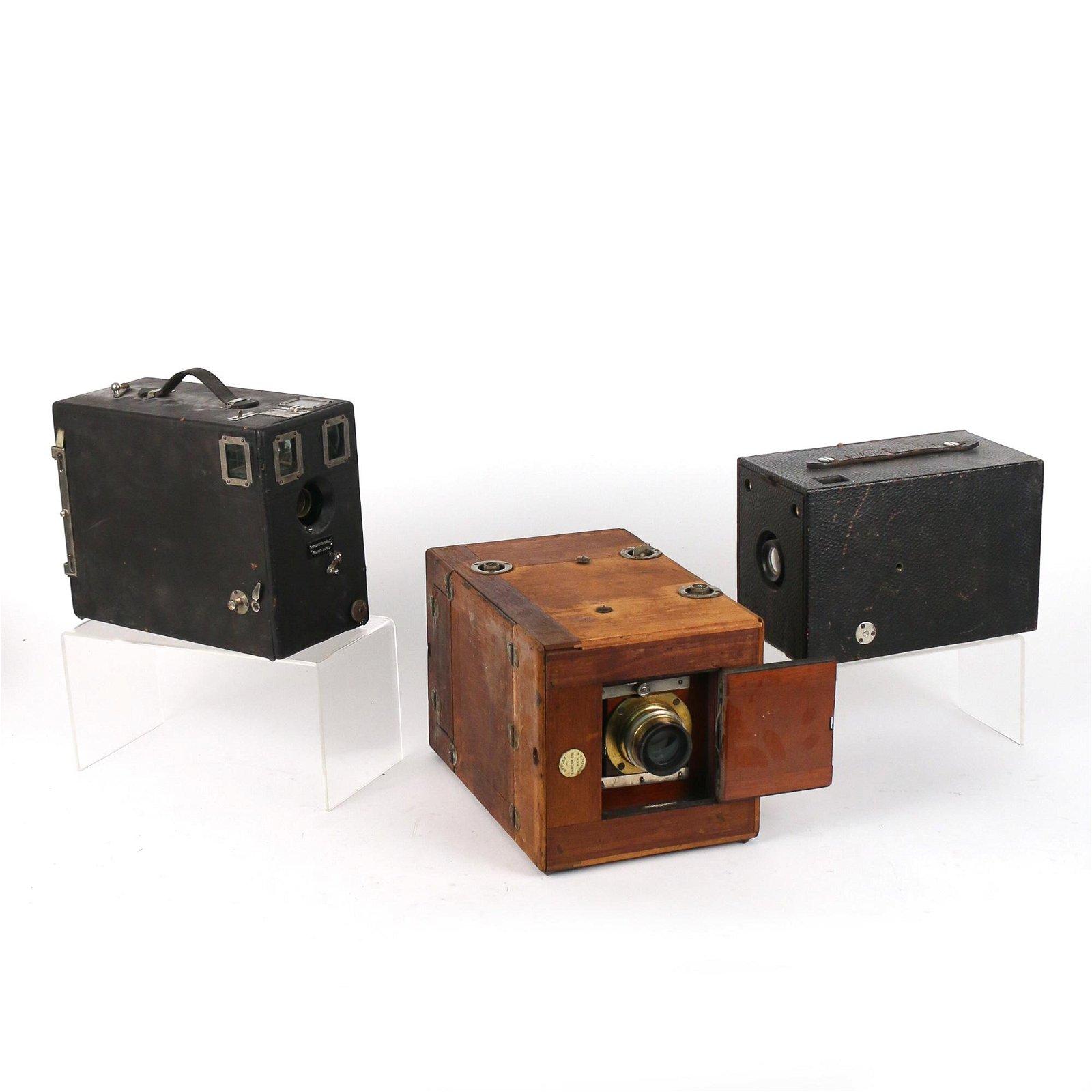 (3pc) EARLY BOX CAMERAS, INCL. KODAK & VOIGTLANDER