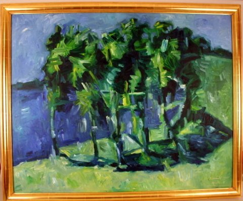5: OIL PAINTING OF PALM TREES, SGD. BARNABE A PORTE