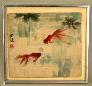 "8: JAPANESE WATERCOLOR, OF GOLDFISH, 9 1/2"" X 10 1/"